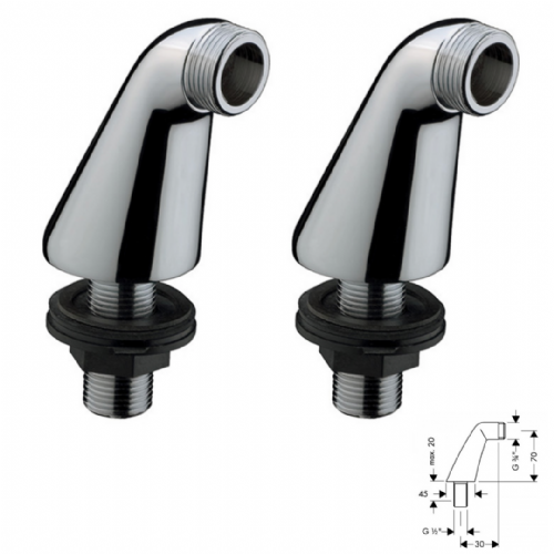 Hansgrohe Pillar Unions (180mm Hole) In Chrome - Model 07002300